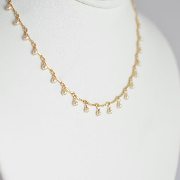 Leticia - White Freshwater Pearl, 14k Gold Filled Necklace