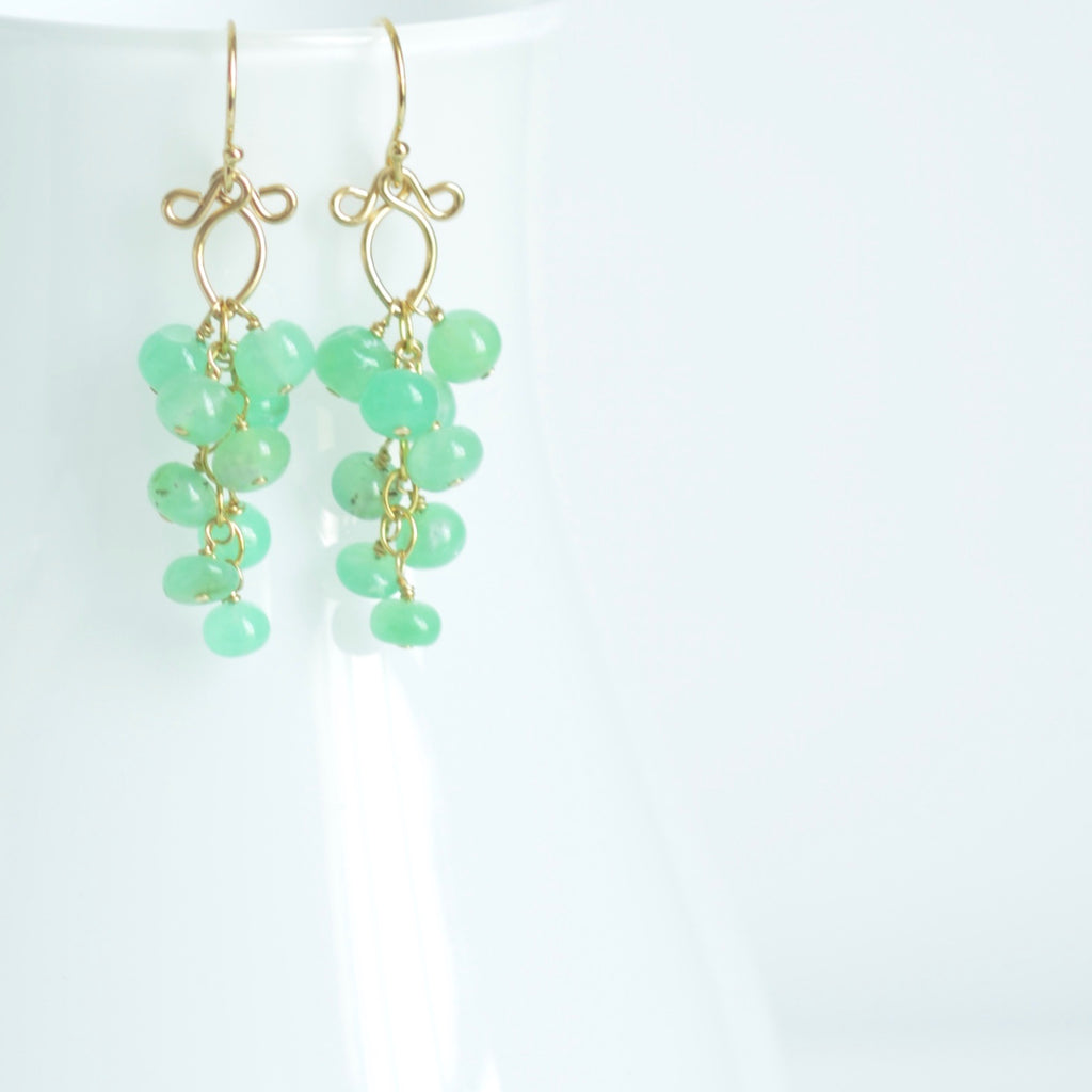 Leyla - Chrysoprase, 14k Gold Filled Earrings