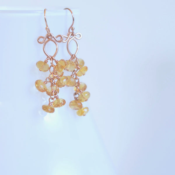 Leyla - Citrine, 14k Rose Gold Filled Earrings