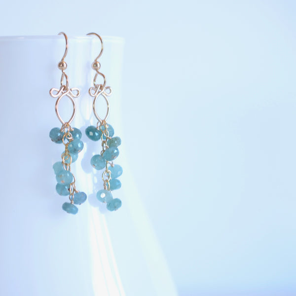 Leyla - Grandidierite, 14k Gold Filled Earrings