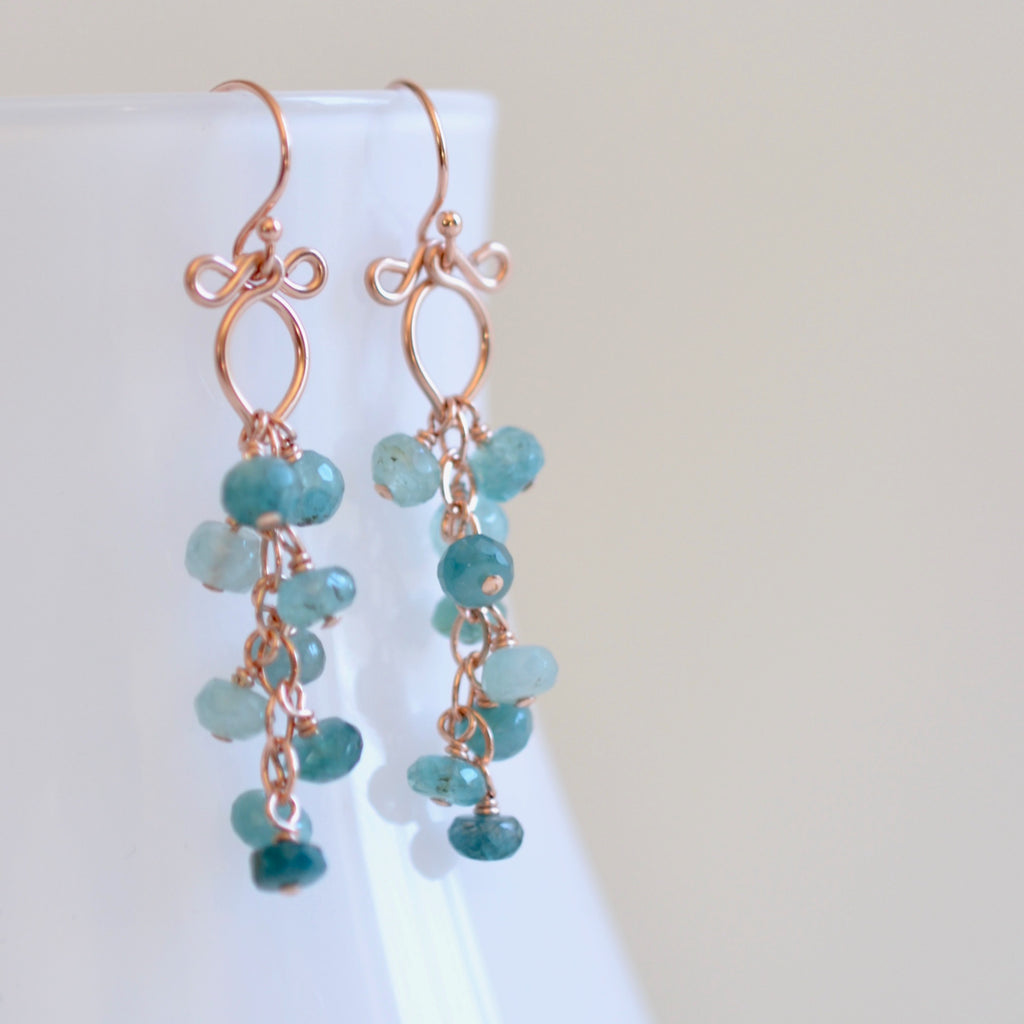 Leyla - Grandidierite, 14k Rose Gold Filled Earrings