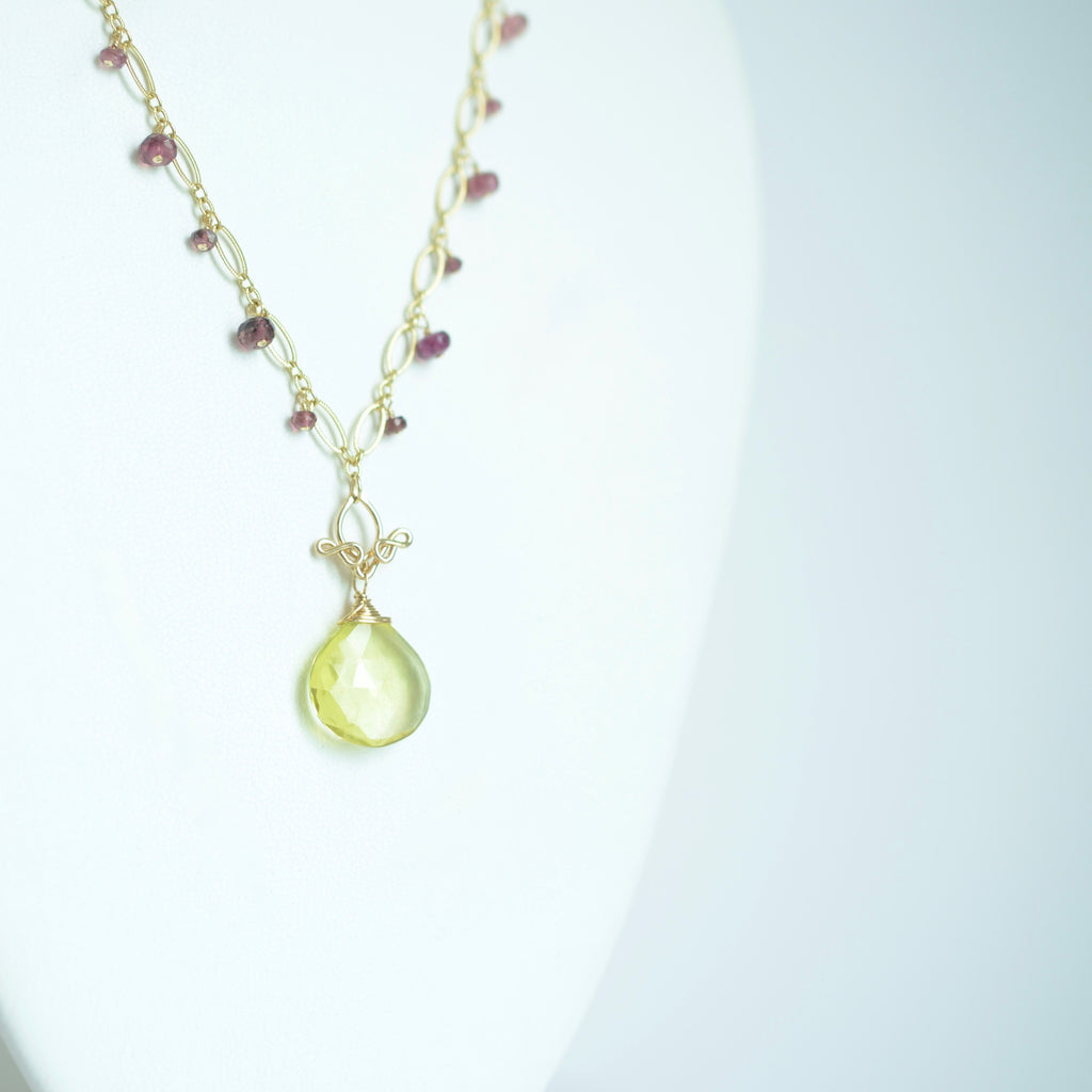 Leyla - Lemon Quartz, Tourmalines, 14k Gold Filled Necklace