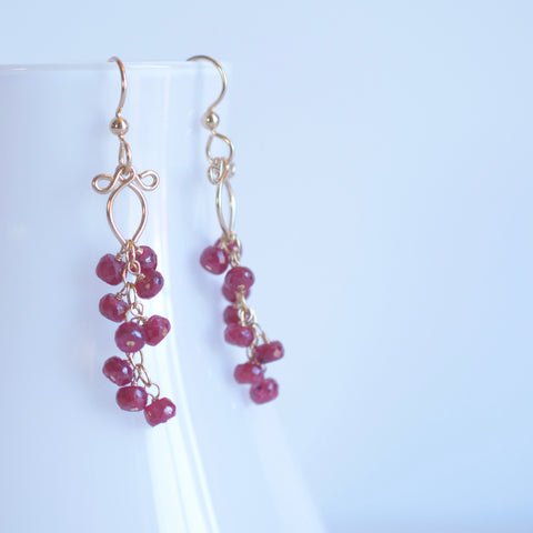 Leyla - Ruby, 14k Gold Filled Earrings