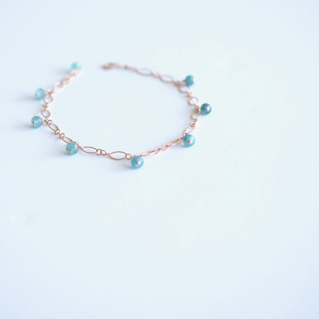 Lili - Grandidierite, 14k Rose Gold Filled Bracelet