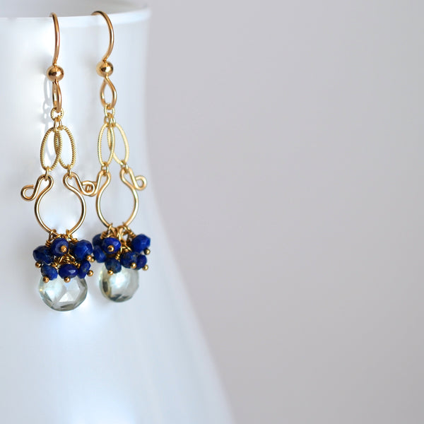 Liliana - Prasiolite, Lapis Lazuli, 14k Gold Filled Earrings