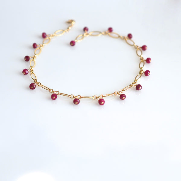 Lilibeth - Ruby, 14k Gold Filled Bracelet