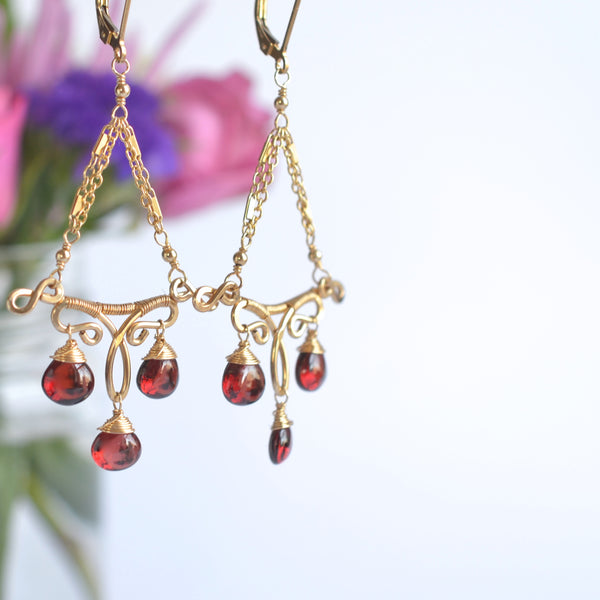 Lilium - Red Garnet, 14k Gold Filled Earrings