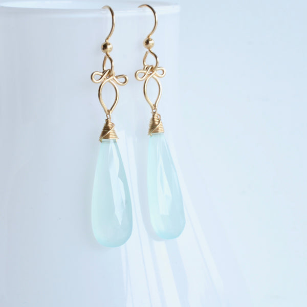 Little Preeda - Aqua Chalcedony, 14k Gold Filled Earrings
