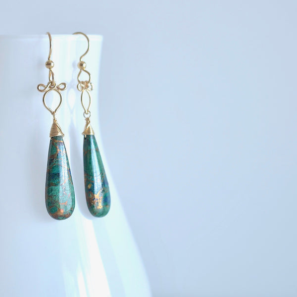 Little Preeda - Azurite, 14k Gold Filled Earrings