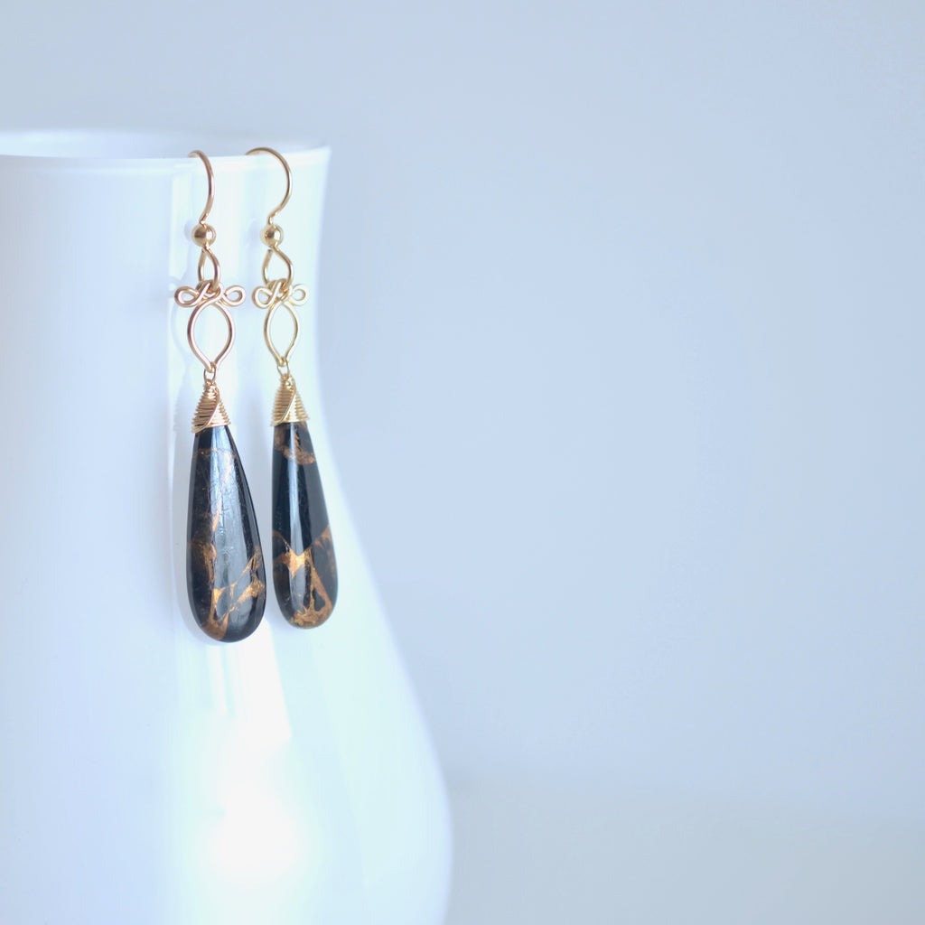 Little Preeda - Copper Obsidian, 14k Gold Filled Earrings