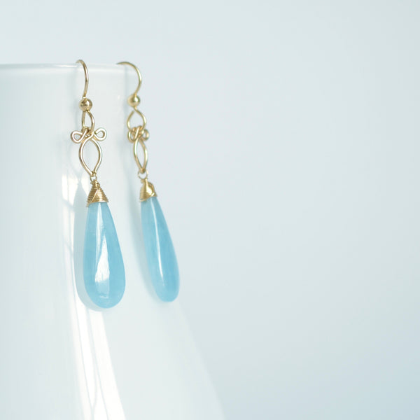 Little Preeda - Aquamarine, 14k Gold Filled Earrings