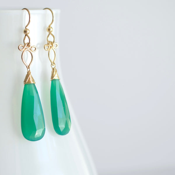 Little Preeda - Green Onyx, 14k Gold Filled Earrings