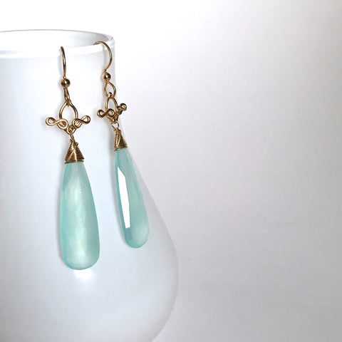 Salome - Chalcedony, 14k Gold Filled Long Earrings