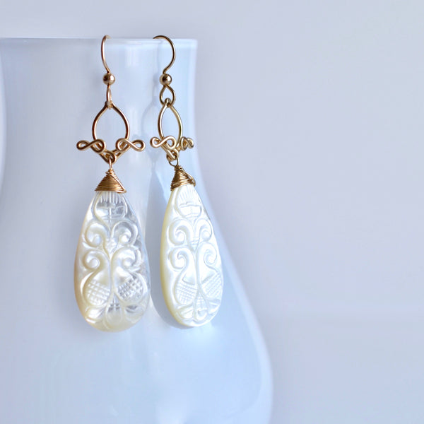 Luna - Mother of Pearl, 14k Gold Filled Long Earrings
