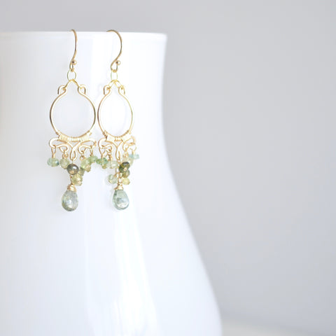 Magalis - Green Tourmalines, 14k Gold Filled Small Chandelier Earrings