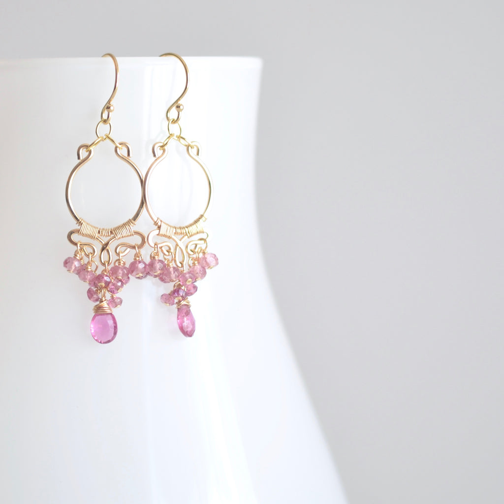 Magalis - Pink Tourmalines, 14k Gold Filled Small Chandelier Earrings