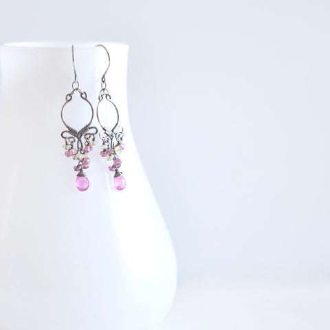 Magalis - Pink Tourmalines and Ethiopian Opals, Sterling Silver Small Chandelier Earrings