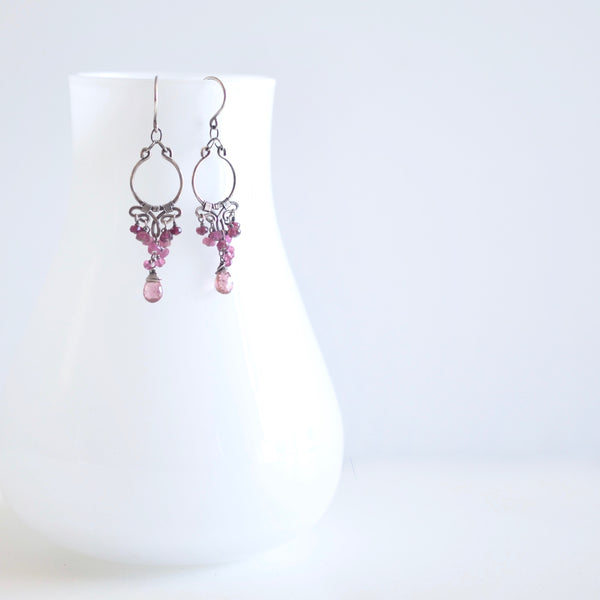 Magalis - Pink Tourmalines, Sterling Silver Small Chandelier Earrings