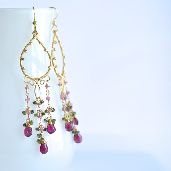 Magda - Tourmalines, 14k Gold Filled Long Earrings