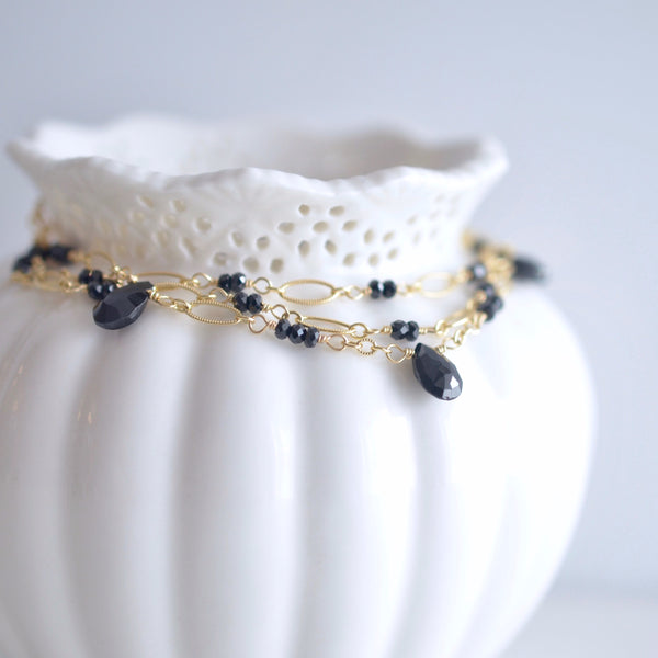 Magdalena -  Black Spinel, 14k Gold Filled Bracelet