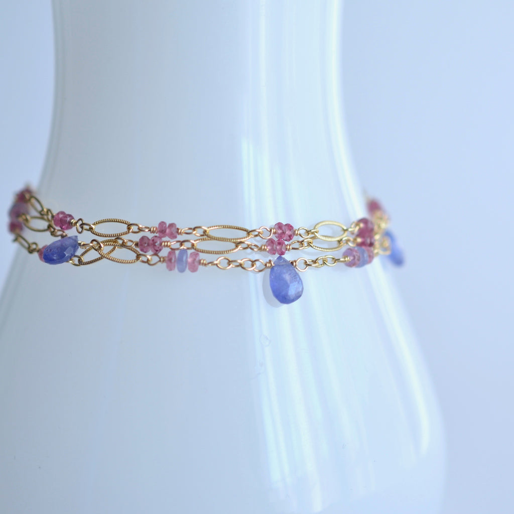 Magdalena - Tanzanite and Pink Sapphires, 14k Gold Filled Bracelet