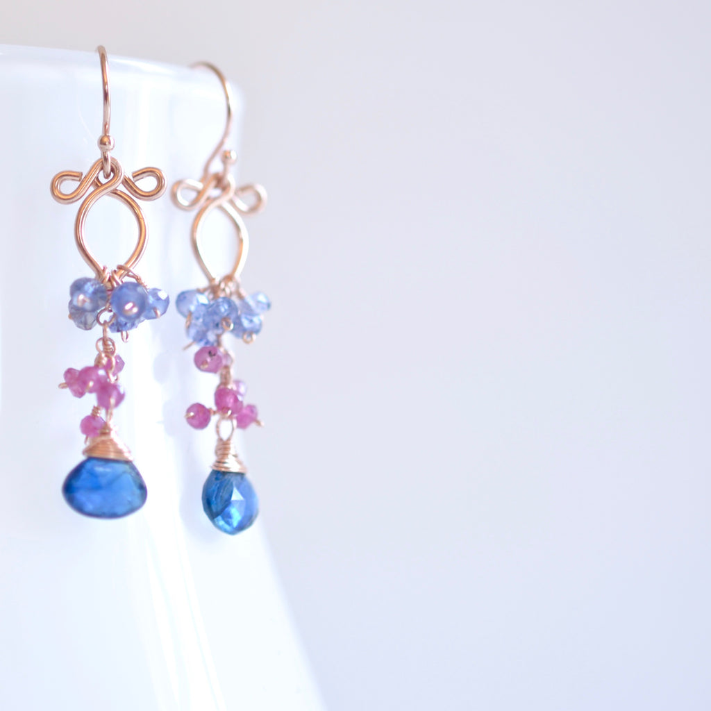 Magdalena - Kyanite, Pink Sapphires, 14k Rose Gold Filled Earrings