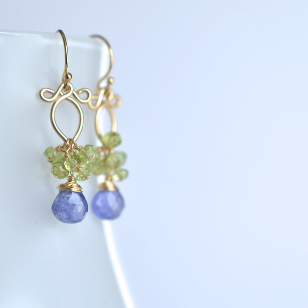 Magdalena - Tanzanites, Peridot, 14k Gold Filled Earrings