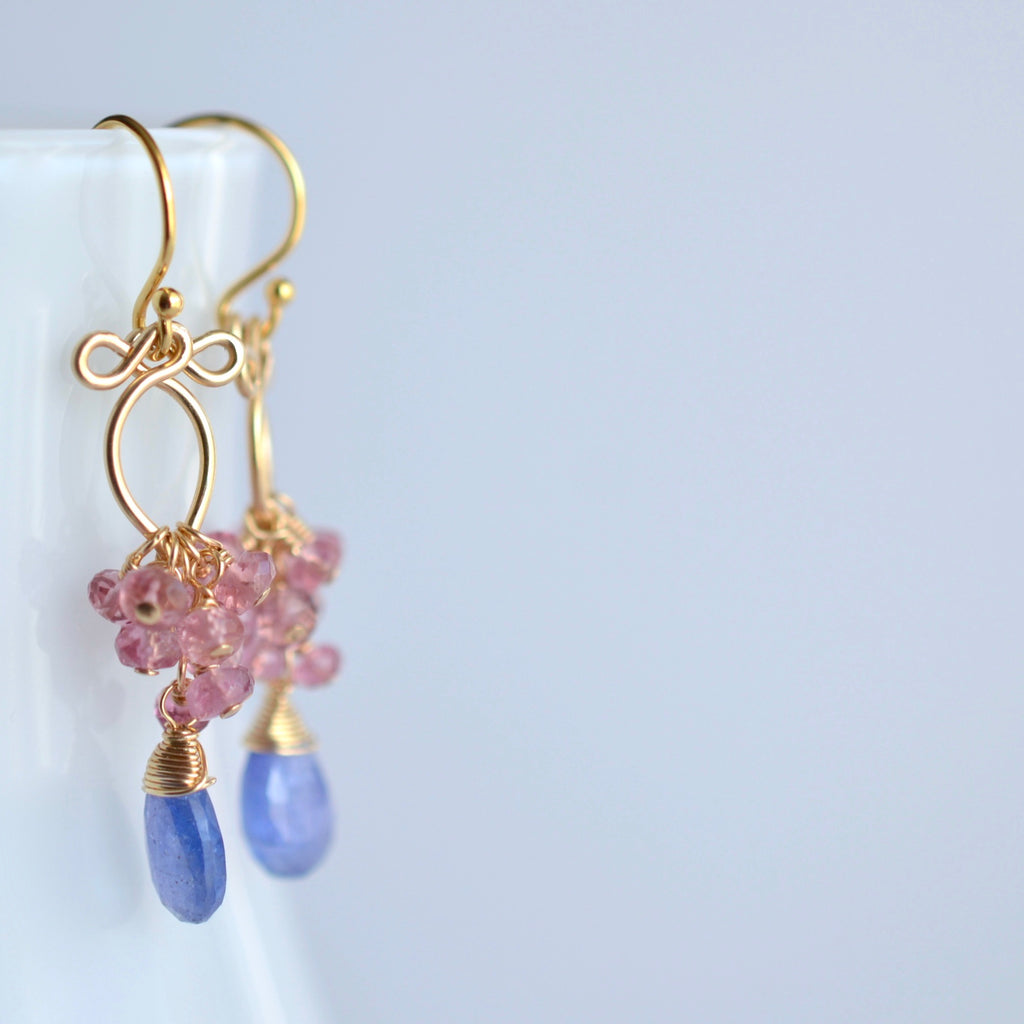Magdalena - Tanzanites, Pink Sapphires 14k Gold Filled Earrings