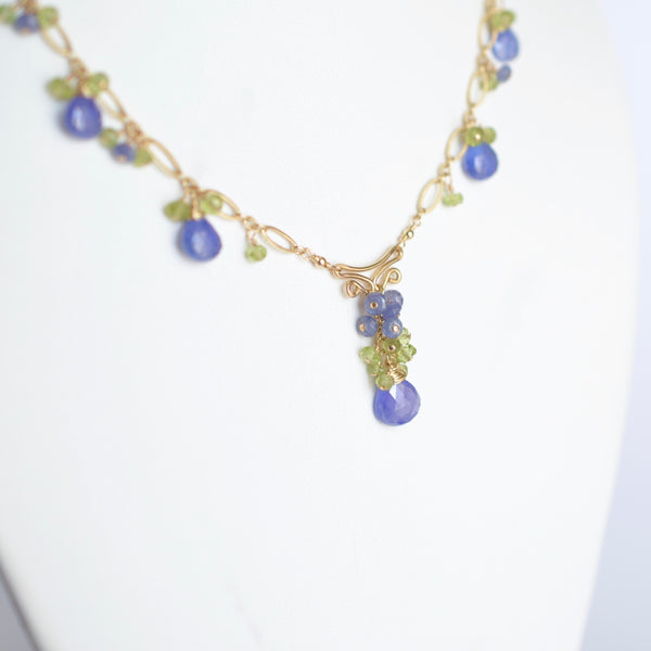 Magdalena - Tanzanite and Peridots, 14k Gold Filled Necklace