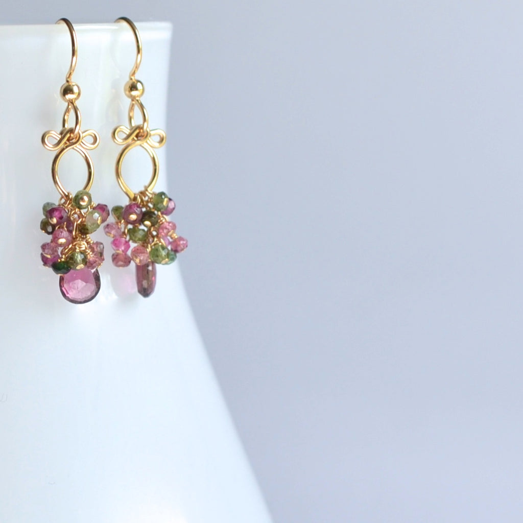 Magdalena - Tourmalines, 14k Gold Filled Petite Earrings