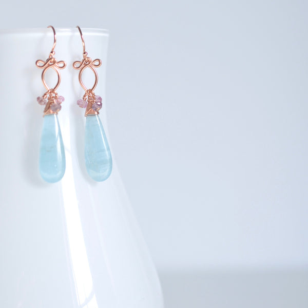 Magrite - Aquamarine, spinel 14k Gold Filled Earrings