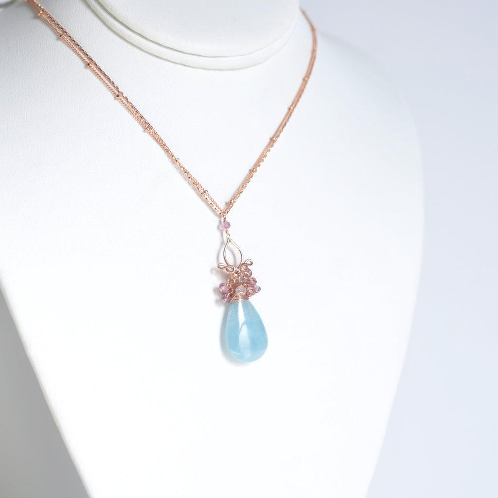 Magrite - Aquamarine, spinel 14k Gold Filled Necklace