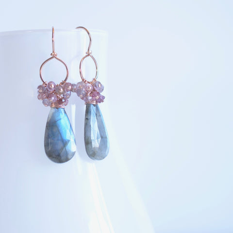 Magrite - Labradorite, spinel 14k Gold Filled Earrings