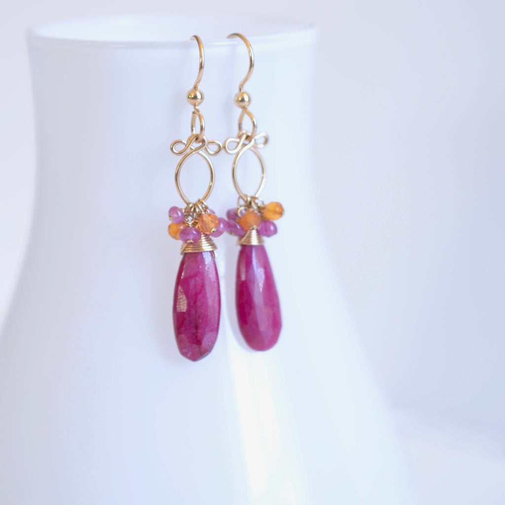 Magrite - Ruby, Carnelian, Pink Sapphires 14k Gold Filled Earrings