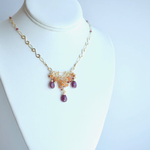 Maja - Ruby, Mandarin Garnet, Ethiopian Opal, Garnet, 14k Gold Filled Necklace