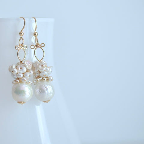 Marcela -  Cultured White Akoya and Freshwater Pearls, 14k Gold Filled Earrings
