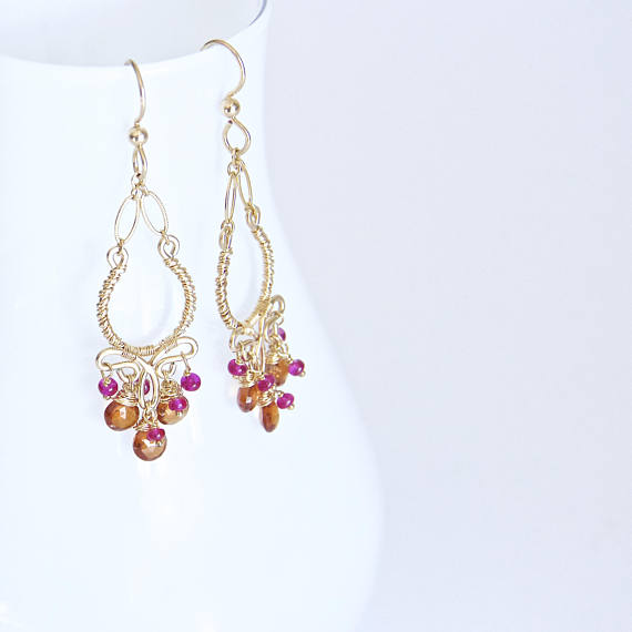 Margaret - Garnet, Sapphires, 14k Gold Filled Earrings