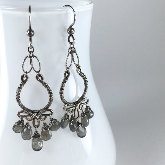 Margaret - Labradorite, Oxidized Silver Earrings