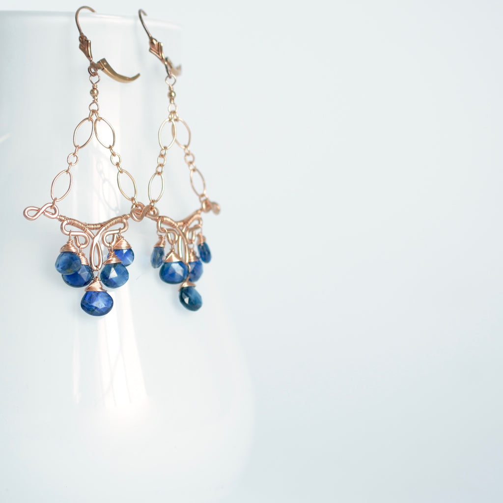 Margarita - Kyanite, 14k Rose Gold Filled Earrings