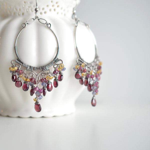 Mariana - Garnet, Iolite, Citrine, Sterling Silver Chandelier Earrings