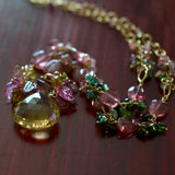 Marilyn - Lemon Quartz, Tourmalines, 14k Gold Filled Necklace