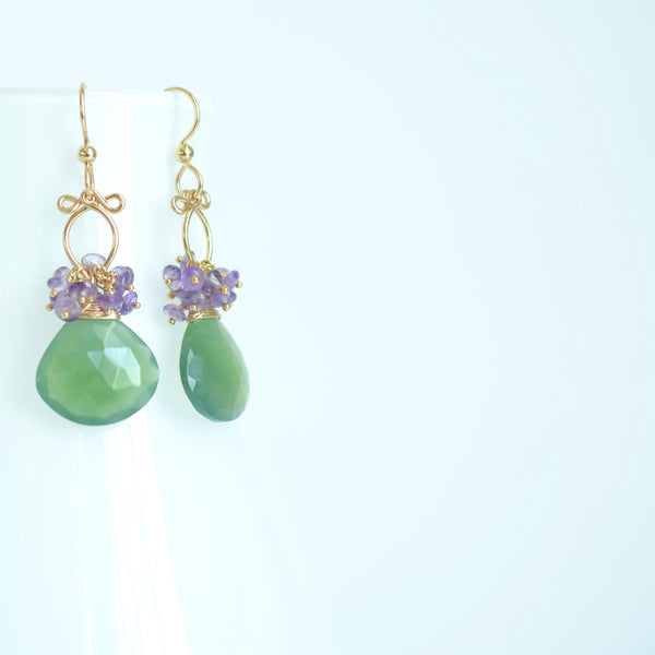 Maritza - Serpentine, Amethyst, 14k Gold Filled Earrings