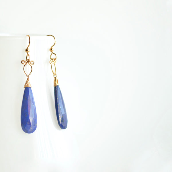"""Medium"" Preeda - Lapis Lazuli, 14k Gold Filled Earrings"