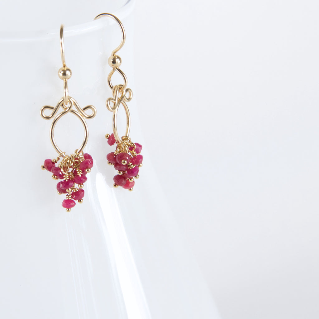 Meredith - Ruby, 14k Gold Filled Earrings