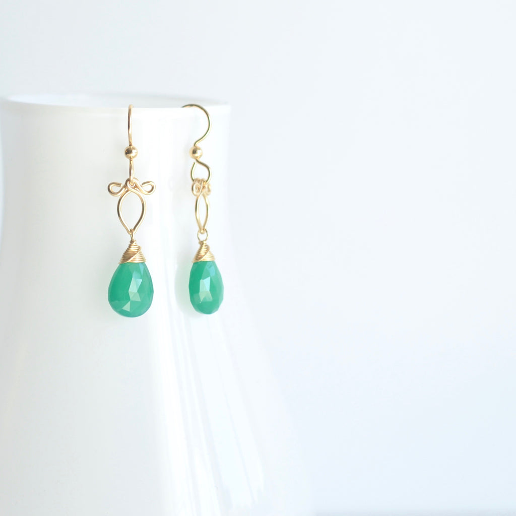 Michaela - Green Onyx, 14k Gold Filled Earrings
