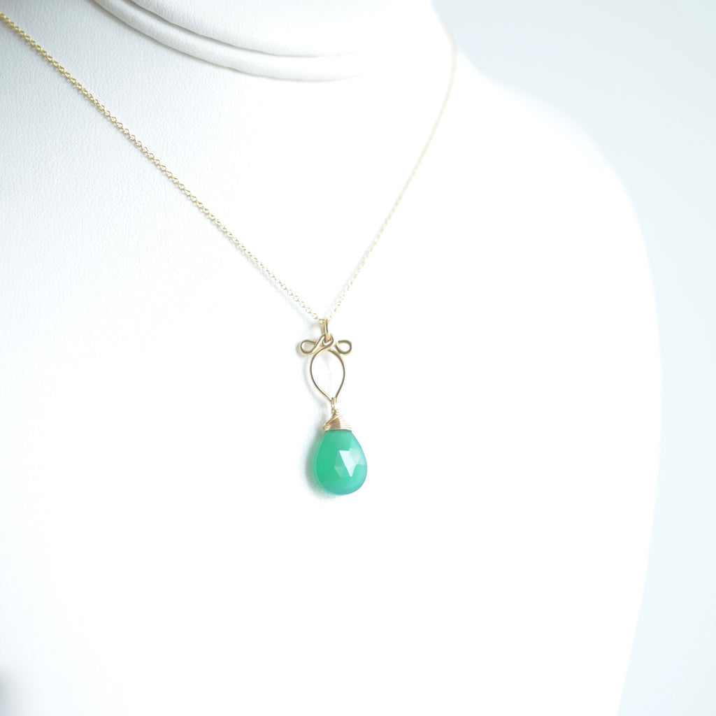Michaela - Green Onyx, 14k Gold Filled Necklace