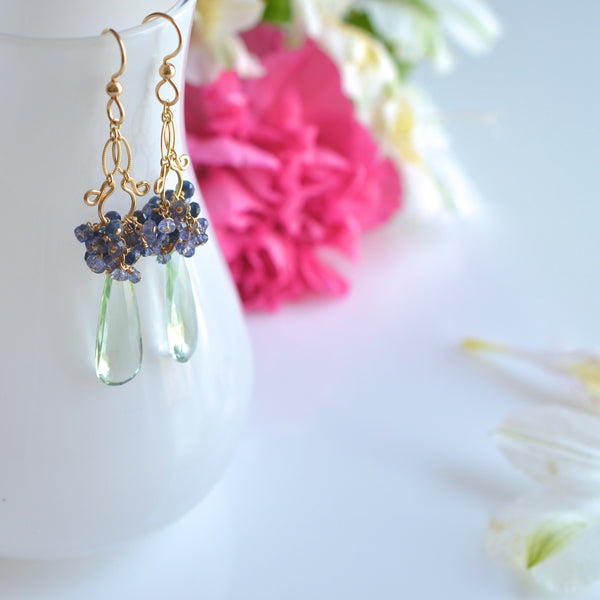 Migdalia - Prasiolite, Sapphires, 14k Gold Filled Earrings