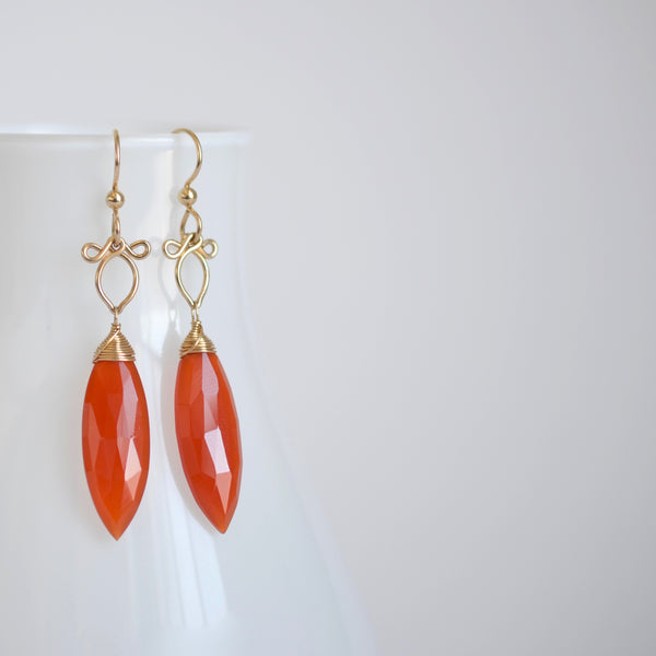 Mila - Orange Chalcedony, 14k Gold Filled Earrings