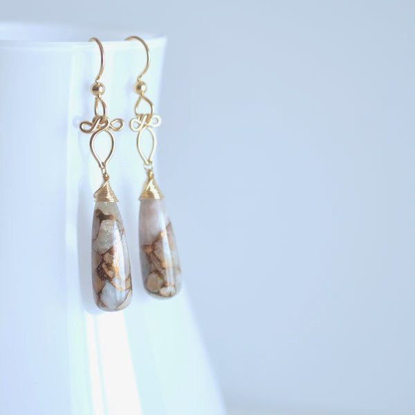 Mille - Copper Calcite, 14k Gold Filled Earrings