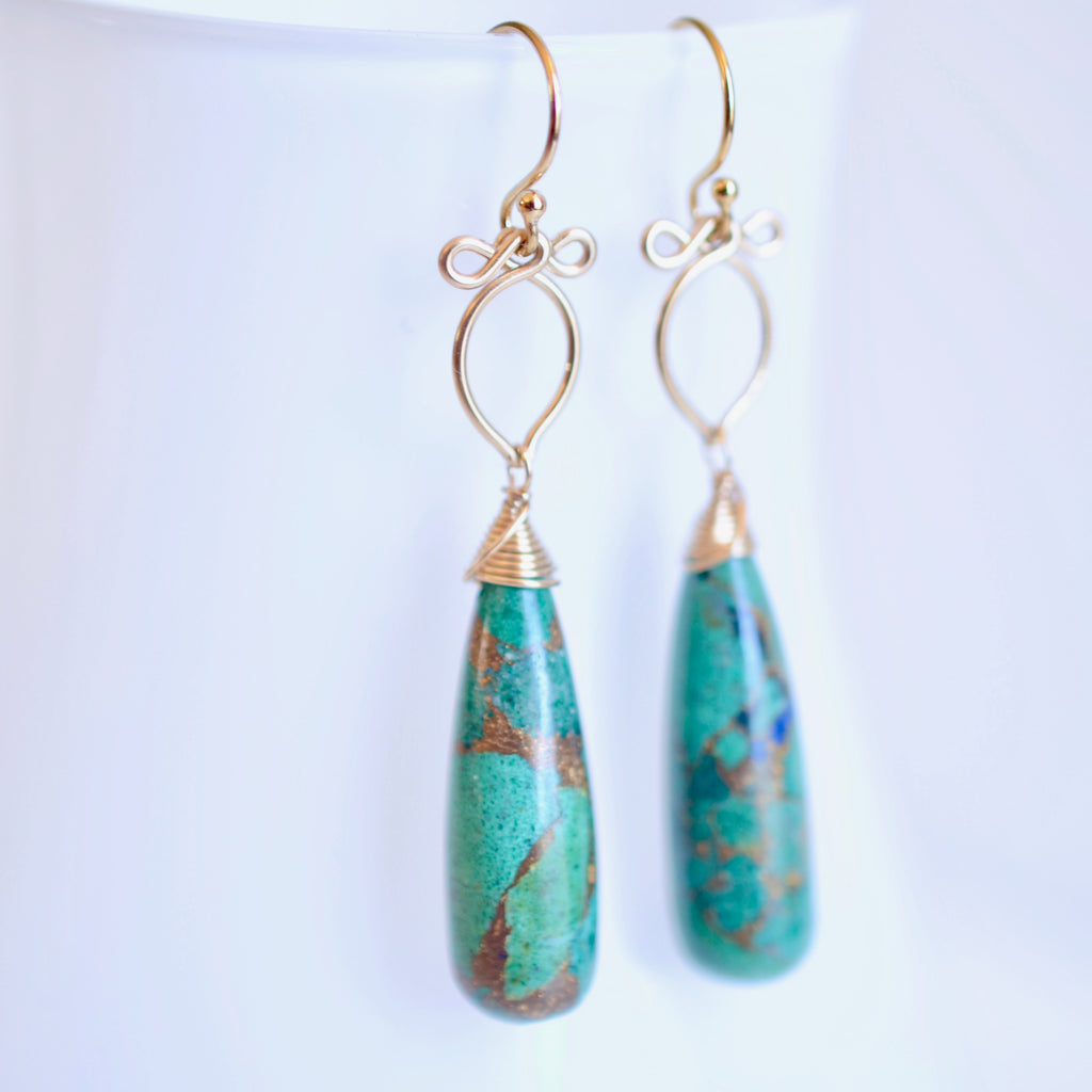 Mille - Copper Azurite, 14k Gold Filled Earrings